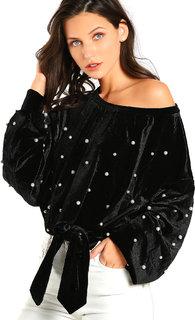 Aashish Garments - Black Velvet Women Pullover