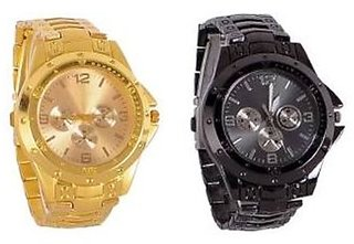 Round Dial Black & Gold Metal Strap Mechanical Watch for Men
