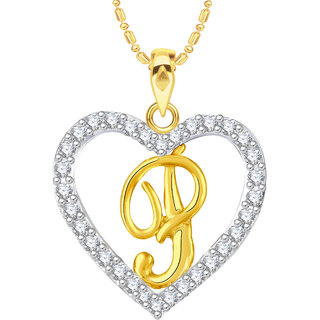 Buy VK Jewels Alphabet P In Heart Gold And Rhodium Plated Alloy CZ
