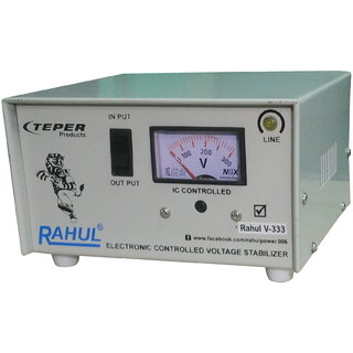 Rahul V-333 c 600 VA/2 AMP 100-290 Volt 1 Refrigerator 90 Ltr to 185 Ltr 5 Step Auto Matic Voltage Stabilizer
