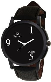 KDS Round Dial Black Leather Strap Quartz Watch For Men