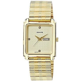 Sonata Quartz Gold Rectangle Men Watch 7053YM08