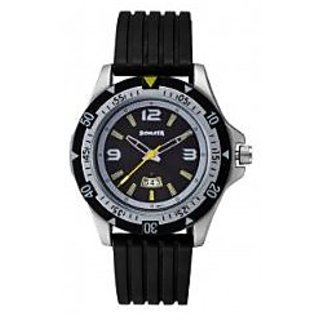 Sonata Quartz Black Round Men Watch 7930PP08