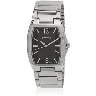 Sonata Quartz Black Square Men Watch 7998SM01