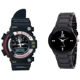 IIk Black and G-Shock Combo of 2 Stylish Anolog Watches for Mens by 7star