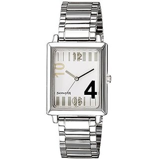 Sonata Quartz White Rectangle Men Watch 7078SM01