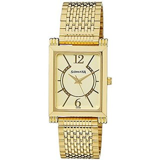 Sonata Quartz Gold Rectangle Men Watch 77036YM01