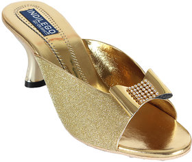 INDILEGO Golden Synthetic Leather Kitten Heels Slippers