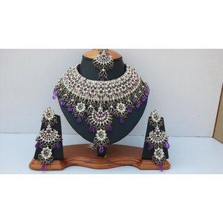 Beaded-Crystals-Pearls Designer Silver Plated Kundan Zirconic Necklace Jewelry Set