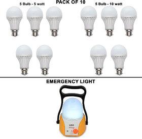 VIZIO Combo of 10 Watt LED Bulb (Set of 5)+ 5 Watt LED Bulb (Set of 5) with lamp