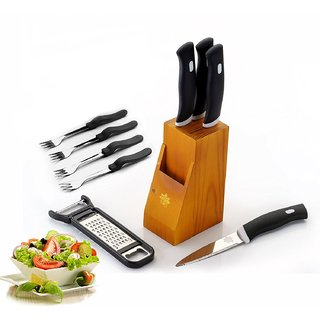 Bms Lifestyle Pro Stainless Steel Knife Sets With Wooden Stand/Block , 10-Pieces, Black