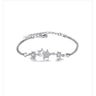 Gorgeous American Diamond Crystal Star Shape Sterling Silver Free Size Bracelet For Women  Girls
