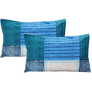 The Intellect Bazaar Cotton Pillow Cover Set(2 pieces),Blue