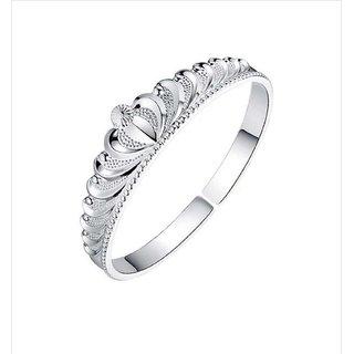 Sterling Silver Princess Crown Design Bracelet Kada For Women & Girls (55mm)