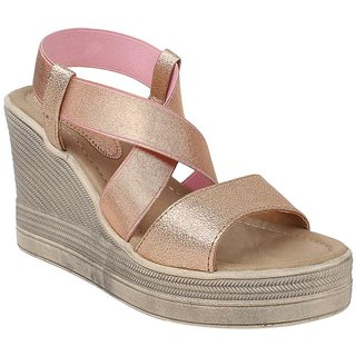 GLITZY GALZ Women's Pink Wedges