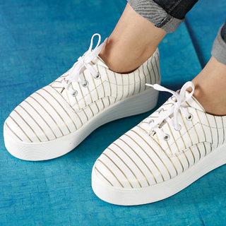Trendy Look Women's Gold  White Sneakers