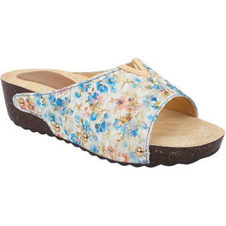 GLITZY GALZ Women's Blue Wedges