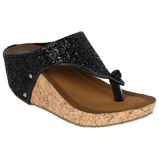 GLITZY GALZ Women's Black Wedges