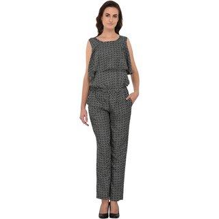 Kooo Womens crepe black White Geometric printed flair sleeveless jumpsuit
