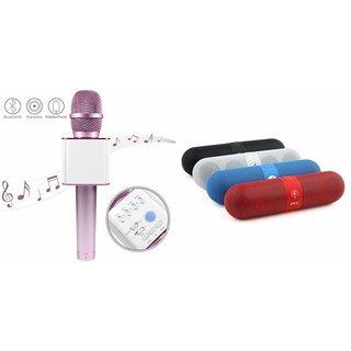 Clairbell Q7 Portable Wireless Karaoke Microphone Handheld Condenser Microphone Inbuilt Speaker Microphone and bluetooth speaker (Facebook Speaker ,Facebook Portable Bluetooth Mobile/Tablet Speaker ) for HTC DESIRE 530