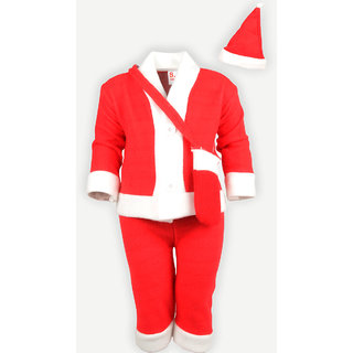 Christmas Santa Claus Fancy Dress Costume for Xmas Party for Boy Girl Kids Child (4-5 Years)