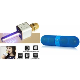 Roar Q7 Portable Wireless Karaoke Microphone Handheld Condenser Microphone Inbuilt Speaker Microphone and bluetooth speaker (Facebook Speaker ,Facebook Portable Bluetooth Mobile/Tablet Speaker ) for LG L 35