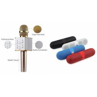 Roar Q7 Portable Wireless Karaoke Microphone Handheld Condenser Microphone Inbuilt Speaker Microphone and bluetooth speaker (Facebook Speaker ,Facebook Portable Bluetooth Mobile/Tablet Speaker ) for LG L90.
