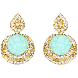 Anishop Oxidised Blue Alloy Dangle Earrings For Women