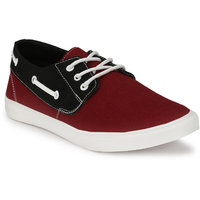 Baton Men's Maroon And Black Lace Up Smart Casual Shoe