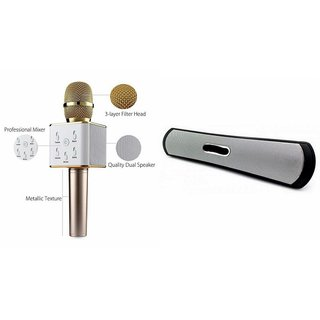 Mirza Q7 Portable Wireless Karaoke Microphone Handheld Condenser Microphone Inbuilt Speaker Microphone and bluetooth speaker (B 13 Speaker ,Bluetooth Multimedia Speaker System with / Pen Drive / SD Card - B13 speakers ) for LENOVO a6000 plus