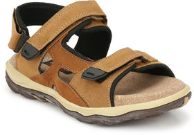 Lee Peeter Tan Suede Leather TPR Velcro Sandals For Men
