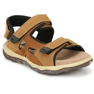 Lee Peeter Tan Suede Leather TPR Valcro Casual Sandals