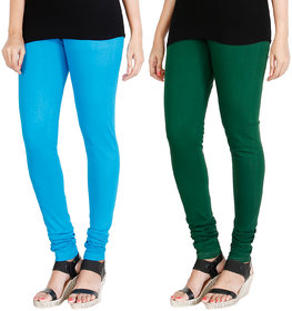 HRINKAR LIGHT BLUE BOTTLE GREEN Soft Cotton Lycra Plain leggings for womens combo Pack of 2 Size - L, XL, XXL - HLGCMB0003-XXL