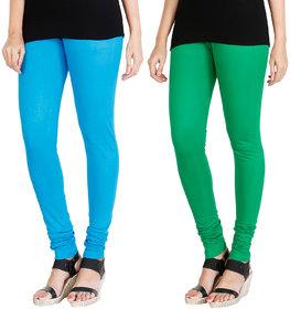 HRINKAR LIGHT BLUE LIGHT GREEN Soft Cotton Lycra Plain girls leggings combo Pack of 2 Size - L, XL, XXL - HLGCMB0004-L