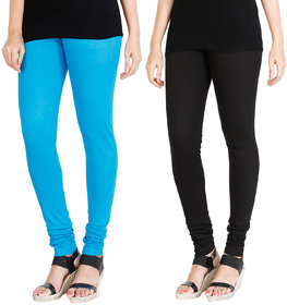 HRINKAR LIGHT BLUE BLACK Soft Cotton Lycra Plain Salwar leggings combo Pack of 2 Size - L, XL, XXL - HLGCMB0005-L
