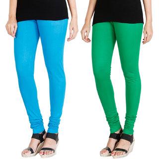 HRINKAR LIGHT BLUE LIGHT GREEN Soft Cotton Lycra Plain leggings womens and girls combo Pack of 2 Size - L, XL, XXL - HLGCMB0004-XXL