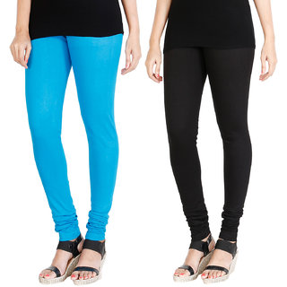 HRINKAR LIGHT BLUE BLACK Soft Cotton Lycra Plain leggings for womens combo Pack of 2 Size - L, XL, XXL - HLGCMB0005-XXL