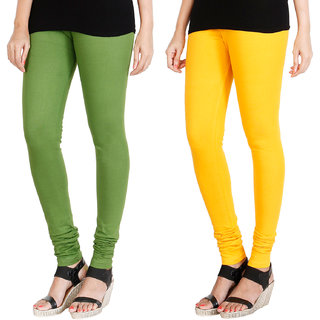 HRINKAR LIGHT GREEN MANGO YELLOW Soft Cotton Lycra Plain leggings for womens combo Pack of 2 Size - L, XL, XXL - HLGCMB0017-L