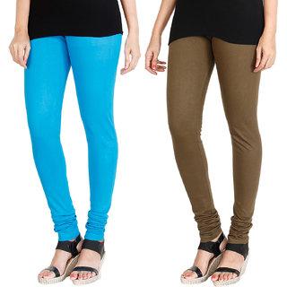 HRINKAR LIGHT BLUE MEHENDI Soft Cotton Lycra Plain leggings for womens combo Pack of 2 Size - L, XL, XXL - HLGCMB0006-XL