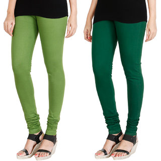HRINKAR LIGHT GREEN BOTTLE GREEN Soft Cotton Lycra Plain leggings Pack of 2 Size - L, XL, XXL - HLGCMB0018-XXL