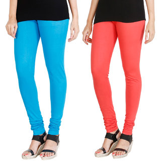 HRINKAR LIGHT BLUE PEACH Soft Cotton Lycra Plain leggings Pack of 2 Size - L, XL, XXL - HLGCMB0008-L