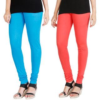 HRINKAR LIGHT BLUE PEACH Soft Cotton Lycra Plain leggings for womens combo Pack of 2 Size - L, XL, XXL - HLGCMB0008-XL