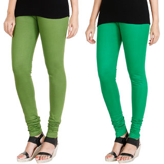 HRINKAR LIGHT GREEN LIGHT GREEN Soft Cotton Lycra Plain leggings for womens combo Pack of 2 Size - L, XL, XXL - HLGCMB0019-XXL