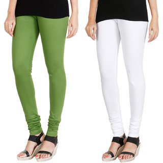 HRINKAR LIGHT GREEN WHITE Soft Cotton Lycra Plain womens leggings combo Pack of 2 Size - L, XL, XXL - HLGCMB0031-L