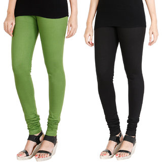 HRINKAR LIGHT GREEN BLACK Soft Cotton Lycra Plain girls leggings combo Pack of 2 Size - L, XL, XXL - HLGCMB0020-L