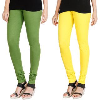 HRINKAR LIGHT GREEN LIGHT YELLOW Soft Cotton Lycra Plain leggings for womens combo Pack of 2 Size - L, XL, XXL - HLGCMB0022-XL