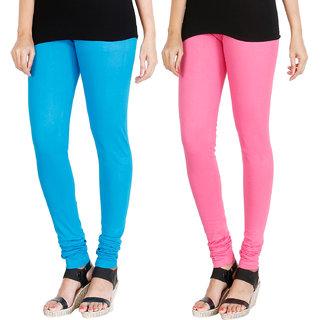 HRINKAR LIGHT BLUE LIGHT PINK Soft Cotton Lycra Plain leggings womens and girls combo Pack of 2 Size - L, XL, XXL - HLGCMB0012-XXL