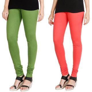 HRINKAR LIGHT GREEN PEACH Soft Cotton Lycra Plain Salwar leggings combo Pack of 2 Size - L, XL, XXL - HLGCMB0023-XXL
