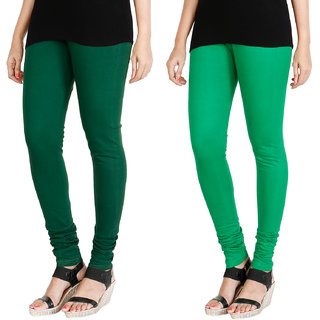 HRINKAR BOTTLE GREEN LIGHT GREEN Soft Cotton Lycra Plain girls leggings combo Pack of 2 Size - L, XL, XXL - HLGCMB0046-XXL