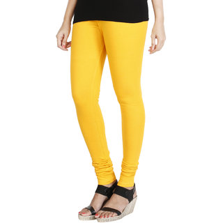 HRINKAR MANGO YELLOW Soft Cotton Lycra Plain leggings for girls Size - L XL XXL - HLGS1525-XXL